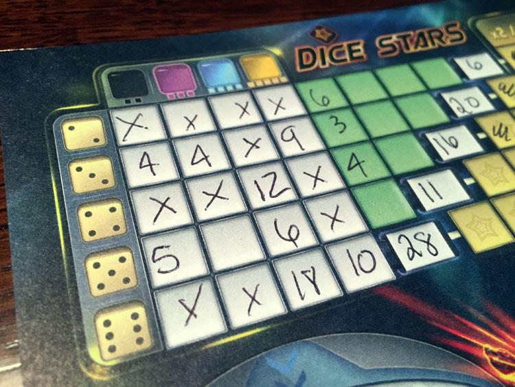 Dice Stars Score Sheet